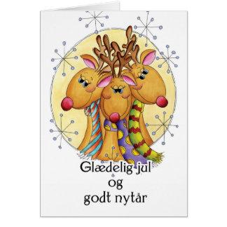 Tarjeta de Navidad danesa - reno - Glædelig julio