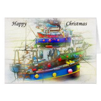 Tarjeta de Navidad de barcos