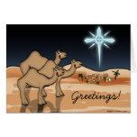 Tarjeta de Navidad de Belén del camello