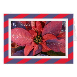 Tarjeta de Navidad de Boss -- Poinsettia rojo