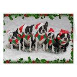 Tarjeta de Navidad de Boston Terrier