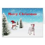 Tarjeta de Navidad de bull terrier