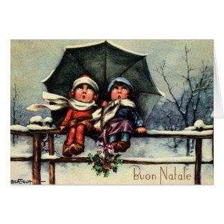 Tarjeta de Navidad de Buon Natale del italiano del