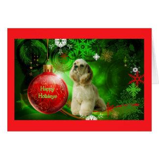 Tarjeta de Navidad de cocker spaniel BallGreen2 ro