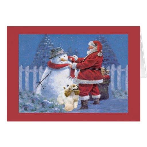 Tarjeta de Navidad de cocker spaniel Santa Snowman