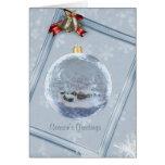 Tarjeta de Navidad de cristal del ornamento del pu