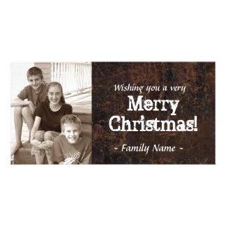 Tarjeta de Navidad de cuero vieja de la foto Tarjeta Fotográfica