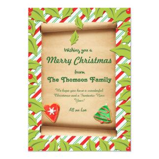 """Tarjeta de Navidad de encargo feliz del bastón del Invitación 5"""" X 7"""""""
