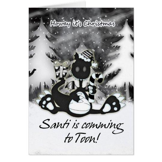 Tarjeta de Navidad de Geordie - dragón blanco y ne