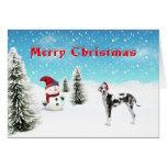 Tarjeta de Navidad de great dane
