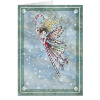 Tarjeta de Navidad de hadas dulce del bastón de ca