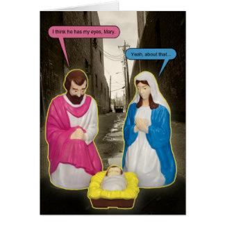 Tarjeta de Navidad de Jesús del bebé del contenedo