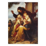 Tarjeta de Navidad de Jesús y de los niños