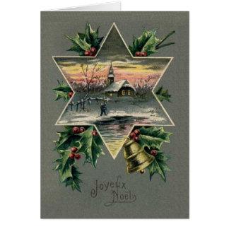 Tarjeta de Navidad de Joyeux Noel del francés del