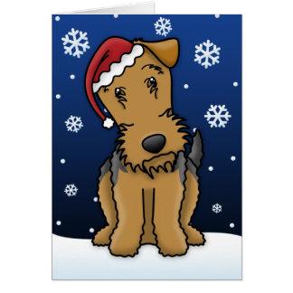 Tarjeta de Navidad de Kawaii Airedale Terrier