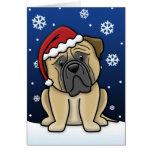 Tarjeta de Navidad de Kawaii Bullmastiff