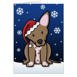 Tarjeta de Navidad de Kawaii Xoloitzcuintli