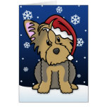 Tarjeta de Navidad de Kawaii Yorkshire Terrier