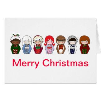 Tarjeta de Navidad de Kokeshi 2