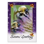 Tarjeta de Navidad de la abeja - abejas de la miel