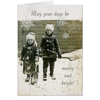 Tarjeta de Navidad de la Antigüedad-Foto - niños