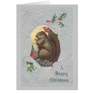 Tarjeta de Navidad de la ardilla del vintage