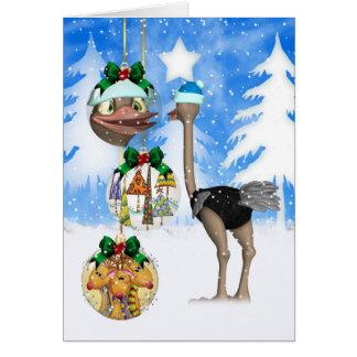 Tarjeta de Navidad de la avestruz de la diversión