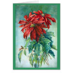 Tarjeta de Navidad de la bella arte de los Poinset