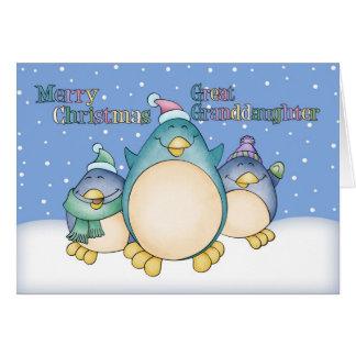 Tarjeta de Navidad de la bisnieta con los pingüino