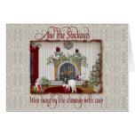 Tarjeta de Navidad de la cabra del vintage