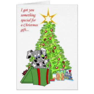 Tarjeta de Navidad de la caja de regalo de Houla
