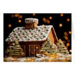Tarjeta de Navidad de la casa de pan de jengibre