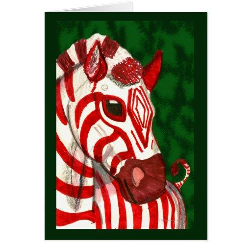Tarjeta de Navidad de la cebra del bastón de
