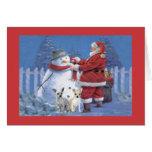 Tarjeta de Navidad de la chihuahua Santa y muñeco