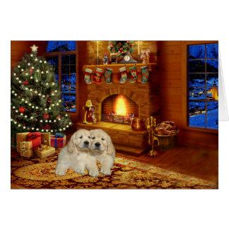 Tarjeta de Navidad de la chimenea del golden