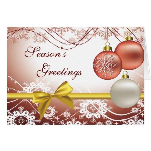 Tarjeta de Navidad de la cinta y de los ornamentos
