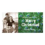 Tarjeta de Navidad de la foto de la pluma del pavo Tarjeta Personal