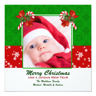 Tarjeta de Navidad de la foto del bastón de Invitación