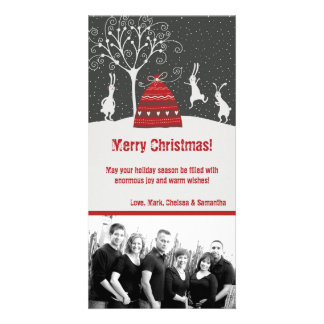 tarjeta de Navidad de la FOTO del conejo de coneji Tarjeta Personal