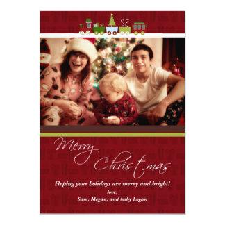 """Tarjeta de Navidad de la foto del tren del navidad Invitación 5"""" X 7"""""""