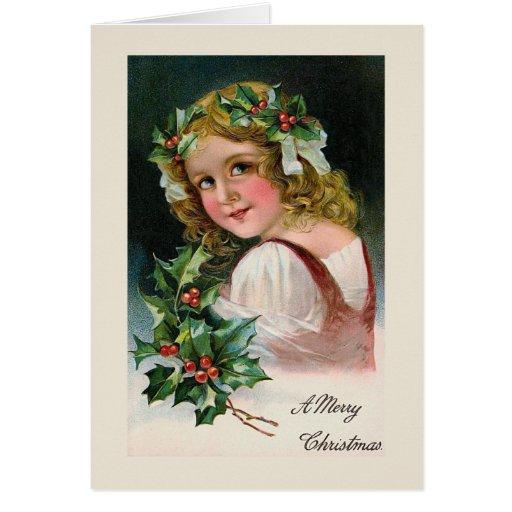 """""""Tarjeta de Navidad de la guirnalda del acebo"""""""