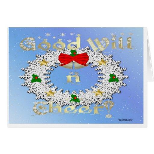 Tarjeta de Navidad de la guirnalda del copo de nie