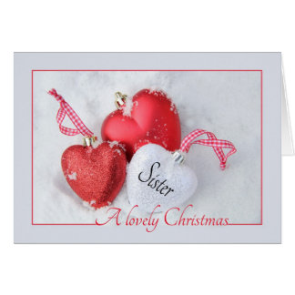 Tarjeta de Navidad de la hermana con los ornamento
