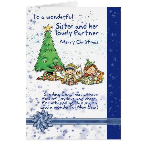 Tarjeta de Navidad de la hermana y del socio con l
