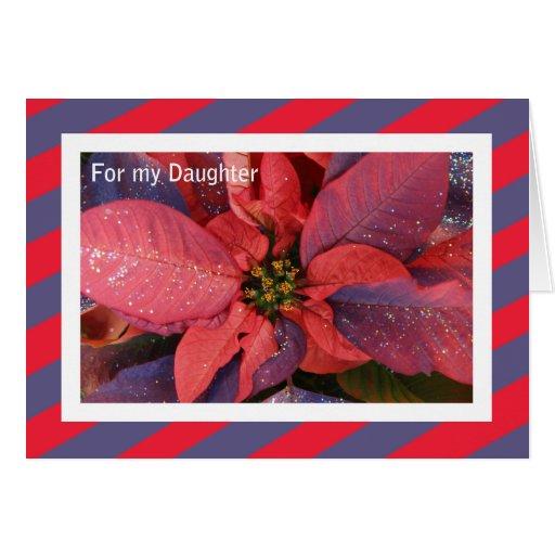 Tarjeta de Navidad de la hija -- Poinsettia