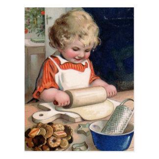 Tarjeta de Navidad de la hornada de la galleta Postal