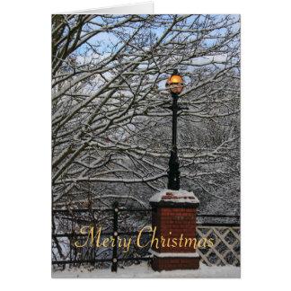 Tarjeta de Navidad de la lámpara de puente del
