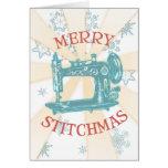 Tarjeta de Navidad de la máquina de coser del vint