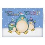 Tarjeta de Navidad de la momia con los pingüinos