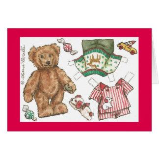 Tarjeta de Navidad de la muñeca del papel de oso